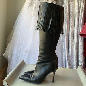 Manolo Blahnik pointed toe high heel fringe boot